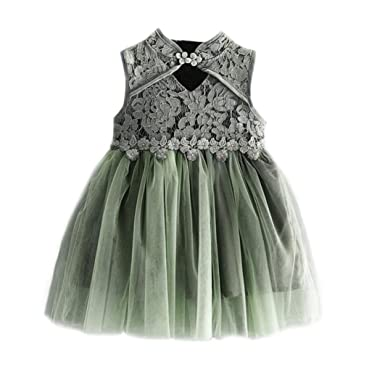 6648afdc2 for 1-5 Years Baby Dresses, Cute Baby Girls Kids Solid Color Sleeveless  Cheongsam Lace Mini Dresses Tutu Dress Autumn Winter Clothes Black:  Amazon.co.uk: ...