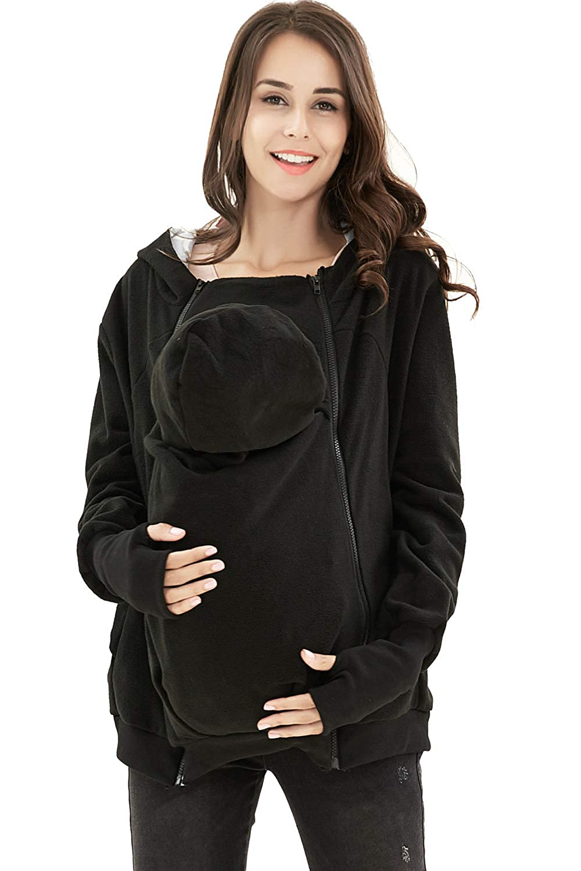 AIYUE 3 in 1 Tragejacke Umstandsjacke Mama Kängurujacke aus Fleece Tragepullove für Babytrage YH-DE-1050-007