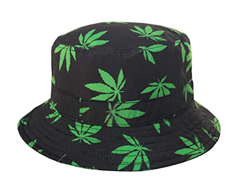 a2fb29acec3 Lightweight Marijuana Weed Cannabis Bucket Sun Hat Black S M at ...