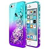 iPhone 5/5S/SE Case, NageBee Glitter Liquid Quicksand Waterfall Floating Flowing Sparkle Bling Diamond Shockproof Girls Cute Durable Luxury Clear Case w/[Tempered Glass Screen Protector] -Aqua/Purple