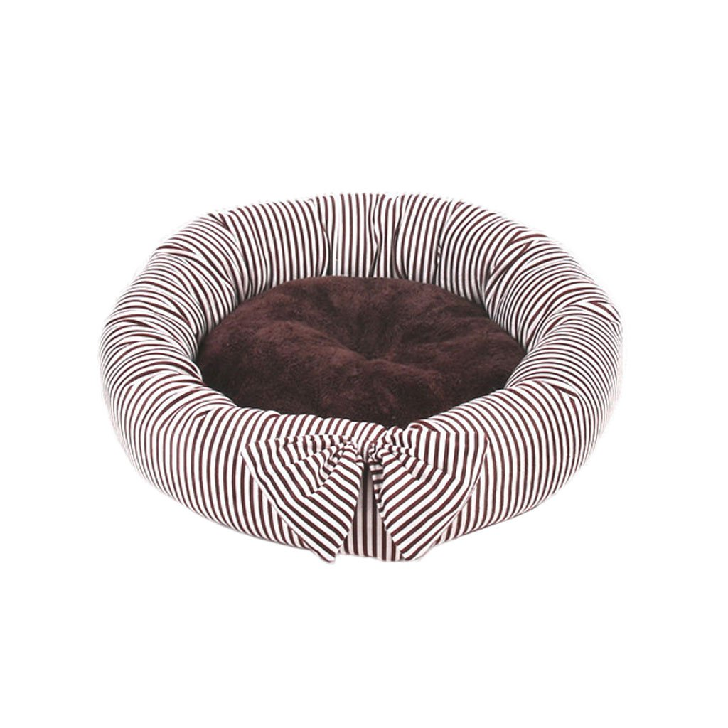 BROWN L BROWN L Moolo Pet Bed Stripe Kennel Soft And Comfortable Dry Breathable Non-slip Durable A04 Dog Bed (color   BROWN, Size   L)