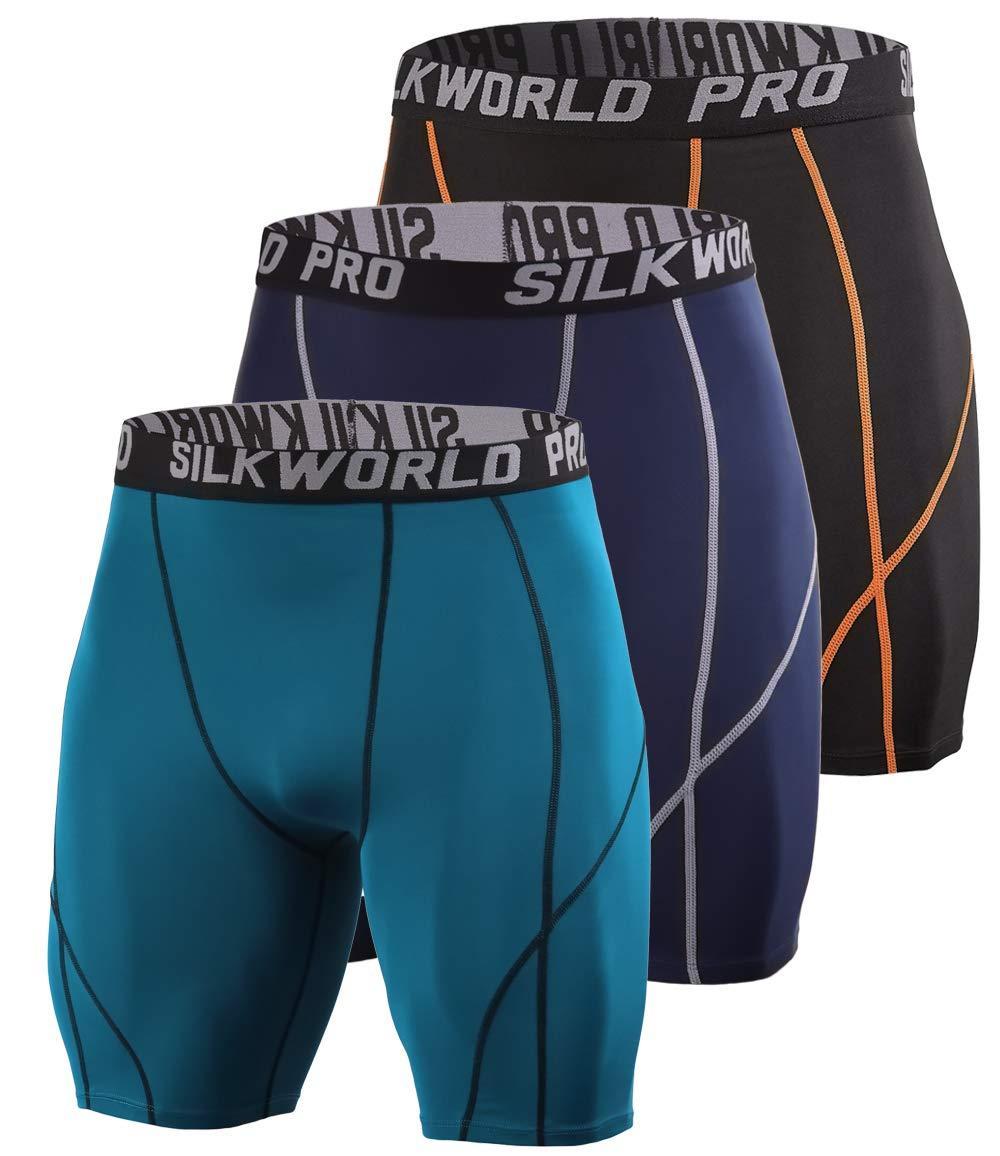 SILKWORLD Men's 3 Pack Running Tight Compression Shorts, Black(Orange Stripe), Dark Navy Blue, Dark Peacock Blue, XL by SILKWORLD