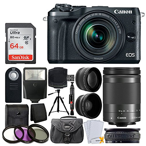 Canon-EOS-M6-Mirrorless-Digital-Camera-EF-M-18-150mm-f35-63-IS-STM-Lens-Graphite-Wide-Angle-Telephoto-Lens-64GB-Memory-Card-Slave-Flash-Wireless-Remote-Quality-Tripod-Accessories