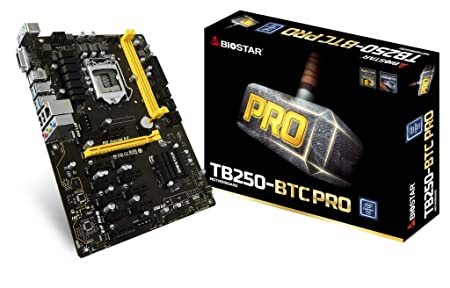 Biostar Motherboard TB250-BTC PRO Core i7/i5/i3 LGA1151 Intel B250 DDR4 Supports 6 AMD and 6 Nvidia Graphics cards Motherboards at amazon