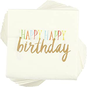 Happy Birthday Rainbow Party Supplies, Paper Napkins (5 x 5 In, White, 100 Pack)