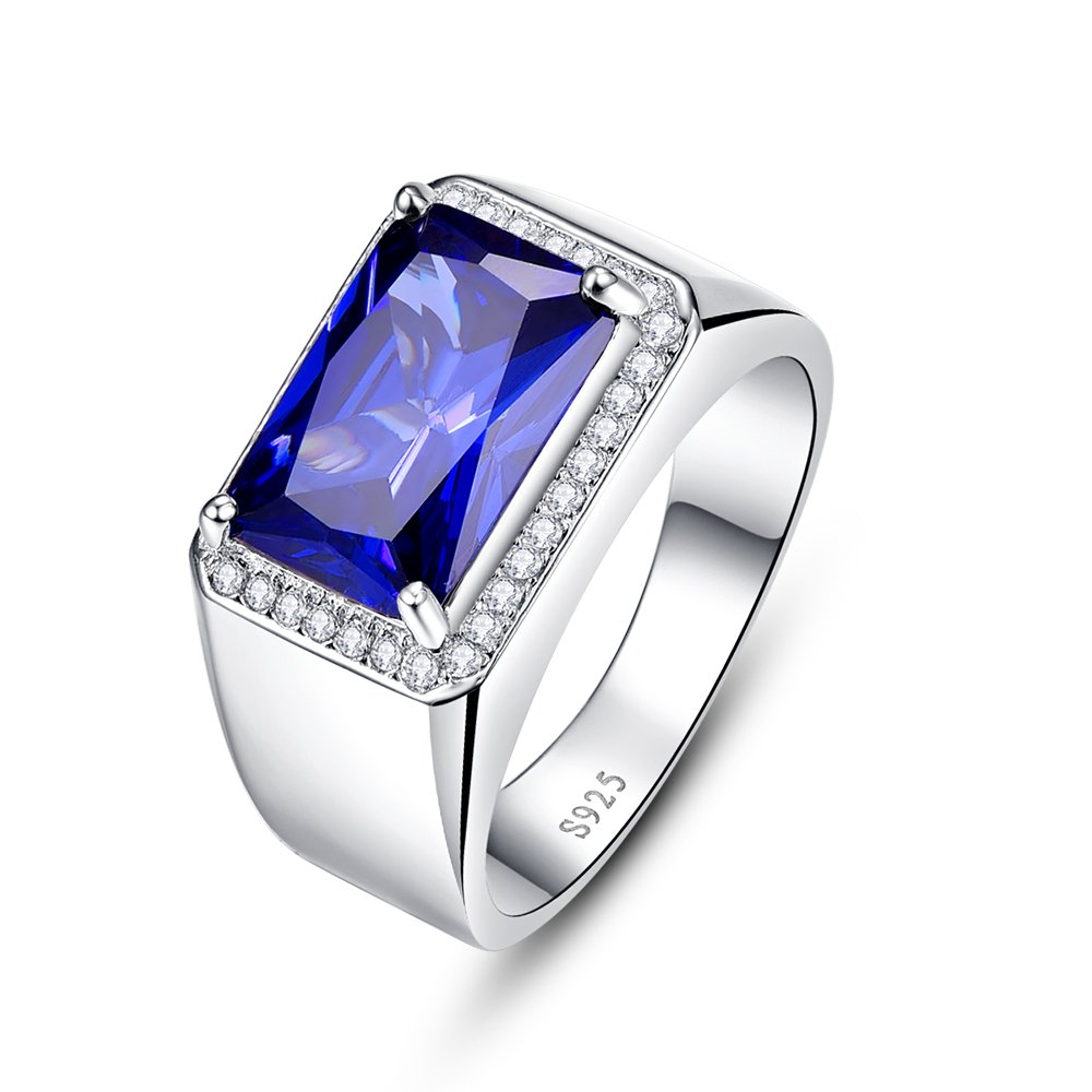 BONLAVIE 7.0ct Square Created Blue Sapphire 925 Sterling Silver Men's Ring Size 6 by BONLAVIE (Image #2)