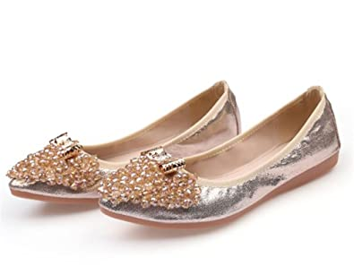 Womens Foldable Soft Pointed Toe boeknot Ballet Flats Rhinestone Casual  Shoes(Gold-39  4b25416dc9