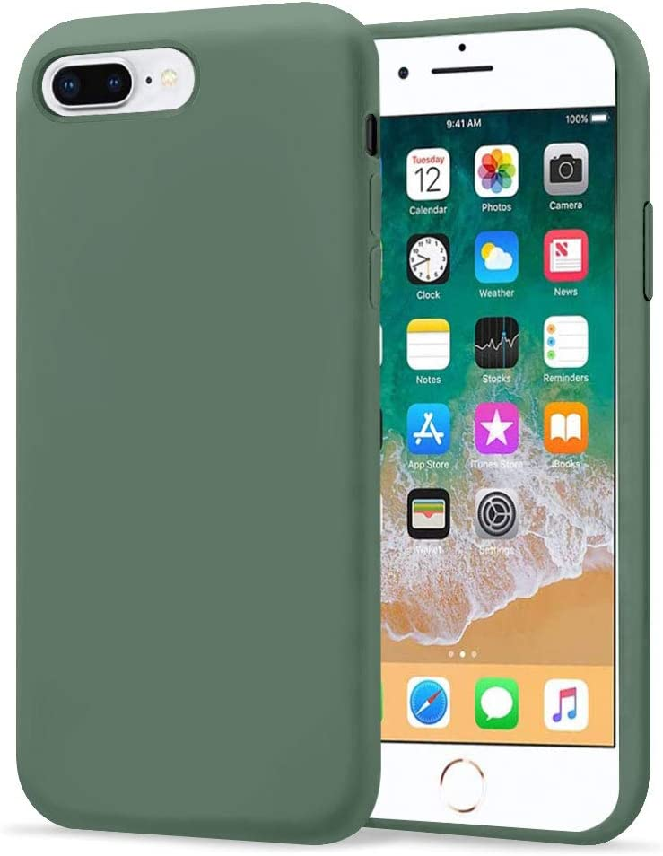 "KUMEEK iPhone 8 Plus Case/iPhone 7 Plus Case, Anti-Slip Liquid Silicone Gel Rubber with Soft Microfiber Cushion Shockproof Drop Protective Case Cover for iPhone 7 Plus/8 Plus 5.5"" - Pine Green"