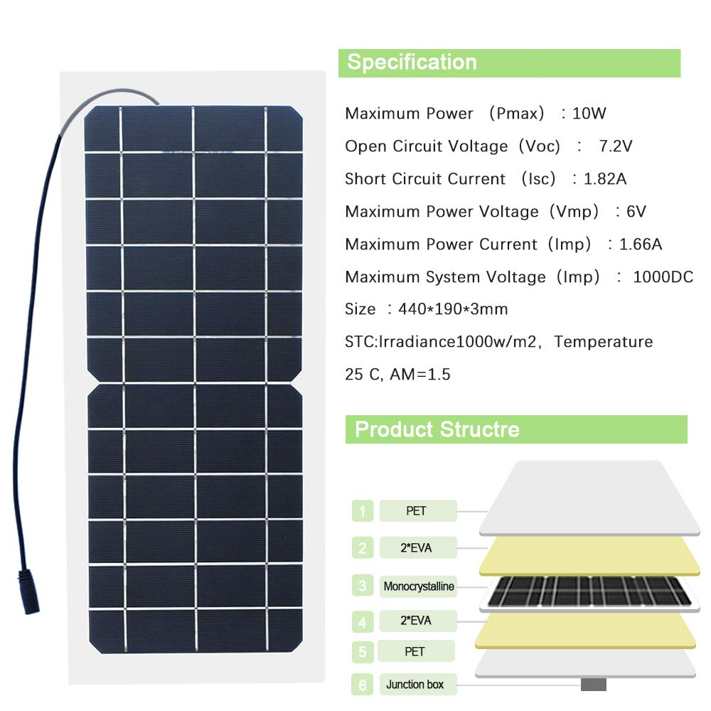 Xinpuguang Flexible Solar Panel 10 Watt Semi Mono Circuit Current Isc And Short Open Voltage Crystalline Silicon Pv Module With Alligator Clip Cable For Rvs Boats Remote Transmitters