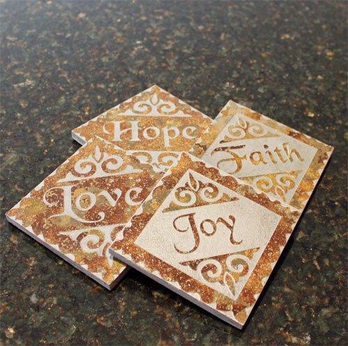 Faith, Hope, Love and Joy Slate Coaster Set - Inspirational Home Decor - Set of 4