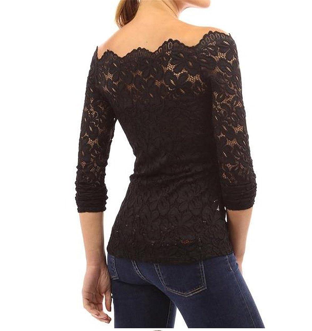 Landove Camicia Pizzo Donna Elegante Magliette Maniche Lunghe Ragazza Senza Spalline Camicetta Top Maglia Spalle Scoperte Bluse T Shirt Tinta Unita Bianco Nero Rosso Blu