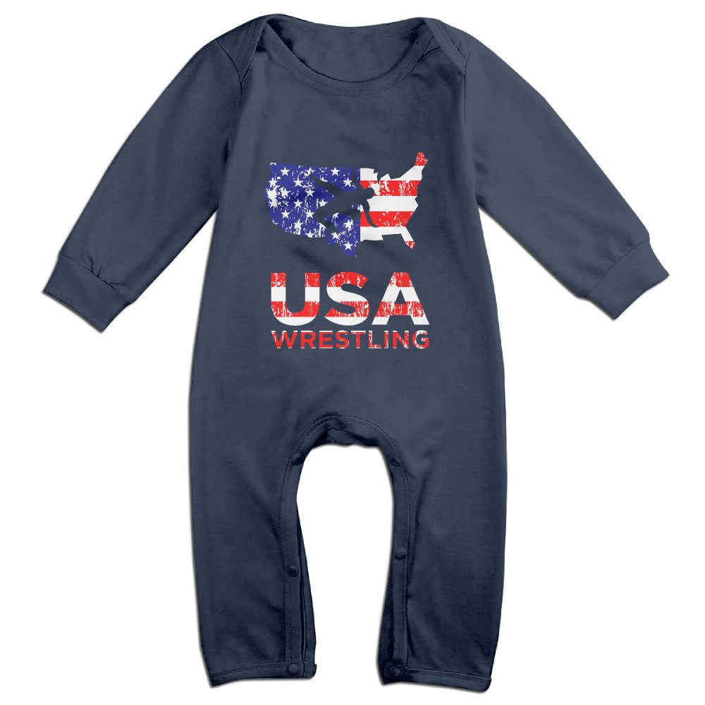 Cute USA Wrestling Logo Jumpsuit For Toddler Navy Size 6 M by TYUI