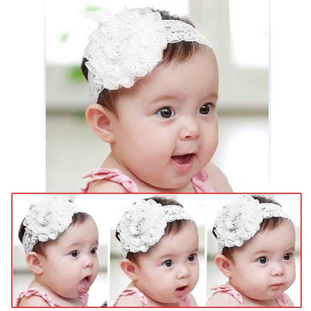 Favoloso Fascia Pizzo Neonata Colore Bianco Elastico per Capelli Bambina  KE75