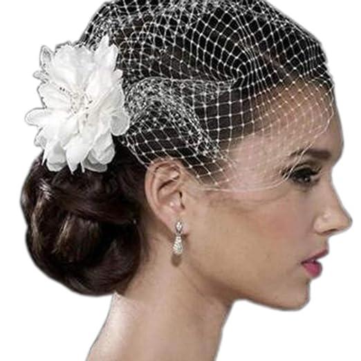 White Flower Birdcage Veil Face Veil Wedding Fascinator Face Veil ... 08f65e7d93f