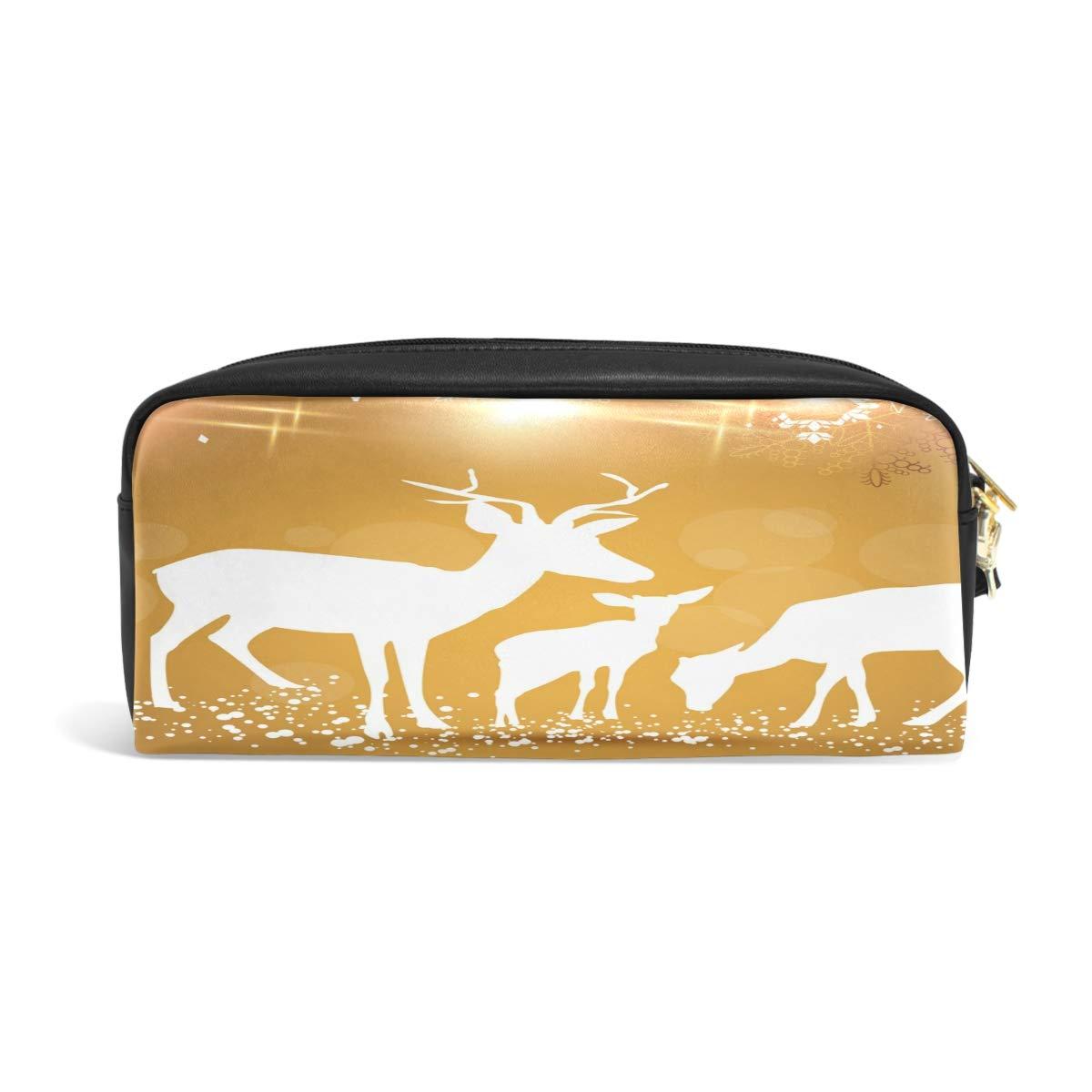 1e36e5579dd Amazon.com   Leather Zipper Pencil Pen Cases Holder Snow Elks Student Pouch  Ladies Comestic Bag   Office Products