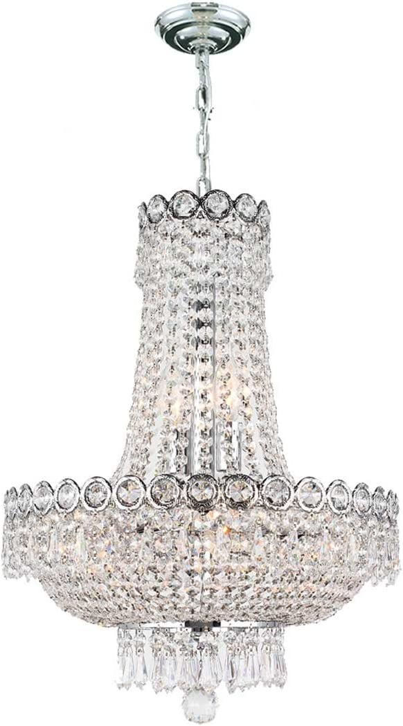 Worldwide Lighting W83049C16 8-Light Empire Chandelier with Clear Crystal, 16 x 20 , Chrome Finish