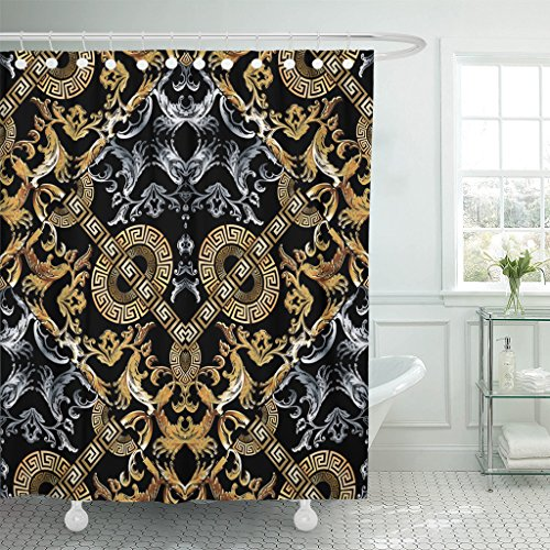 Silver Ring Scroll Borders - TOMPOP Shower Curtain Baroque Black Damask with Vintage Gold Silver 3D Flowers Scroll Leaves Circle Meanders and Greek Key Waterproof Polyester Fabric 60 x 72 Inches Set with Hooks