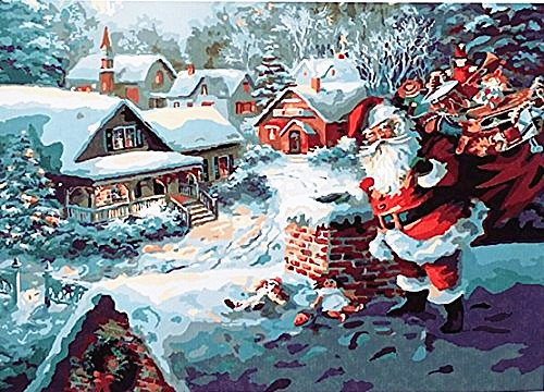 [WOODEN FRAME]Diy Oil Painting Paint By Number Kit-Christmas Gift Santa Claus house 16*20 inch