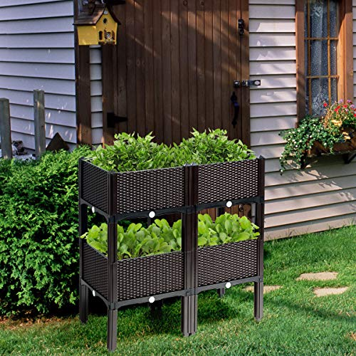Plastic Elevated Garden beds with Brackets for Flowers Vegetables ...