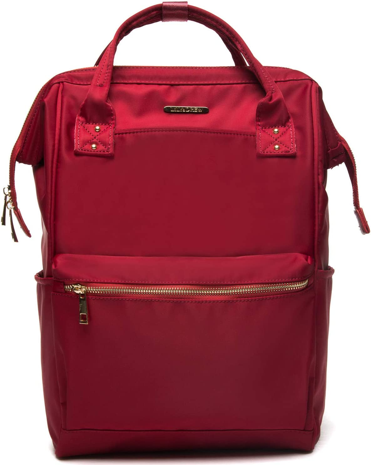 Lily & Drew Casual Travel Daypack School Backpack for Men Women and 14 Inch Laptop Computer, with Wide Doctor Style Top Opening (Red Nylon Medium)