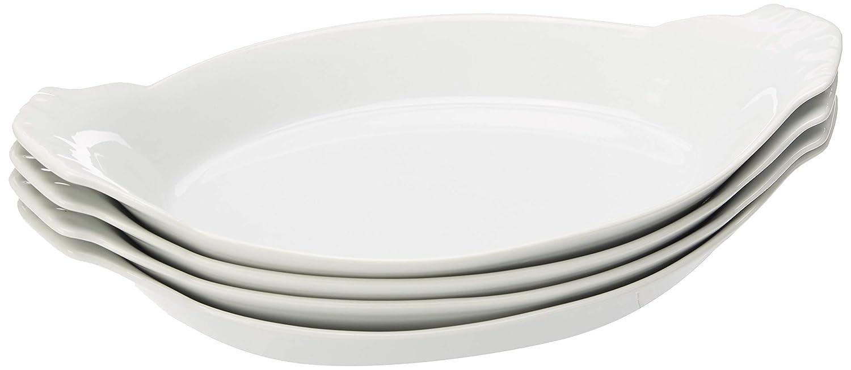 Charolas ovaladas de porcelana, 10 in, Set de 4, Blanco