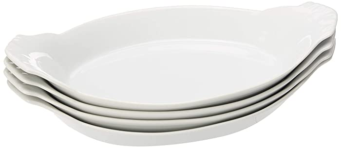 HIC Oval Au Gratin Baking Dishes, Fine White Porcelain, 10-Inch, Set of 4