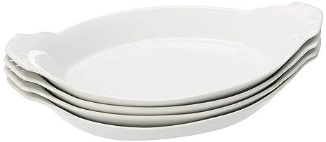amazon com hic oval au gratin baking dishes fine white porcelain