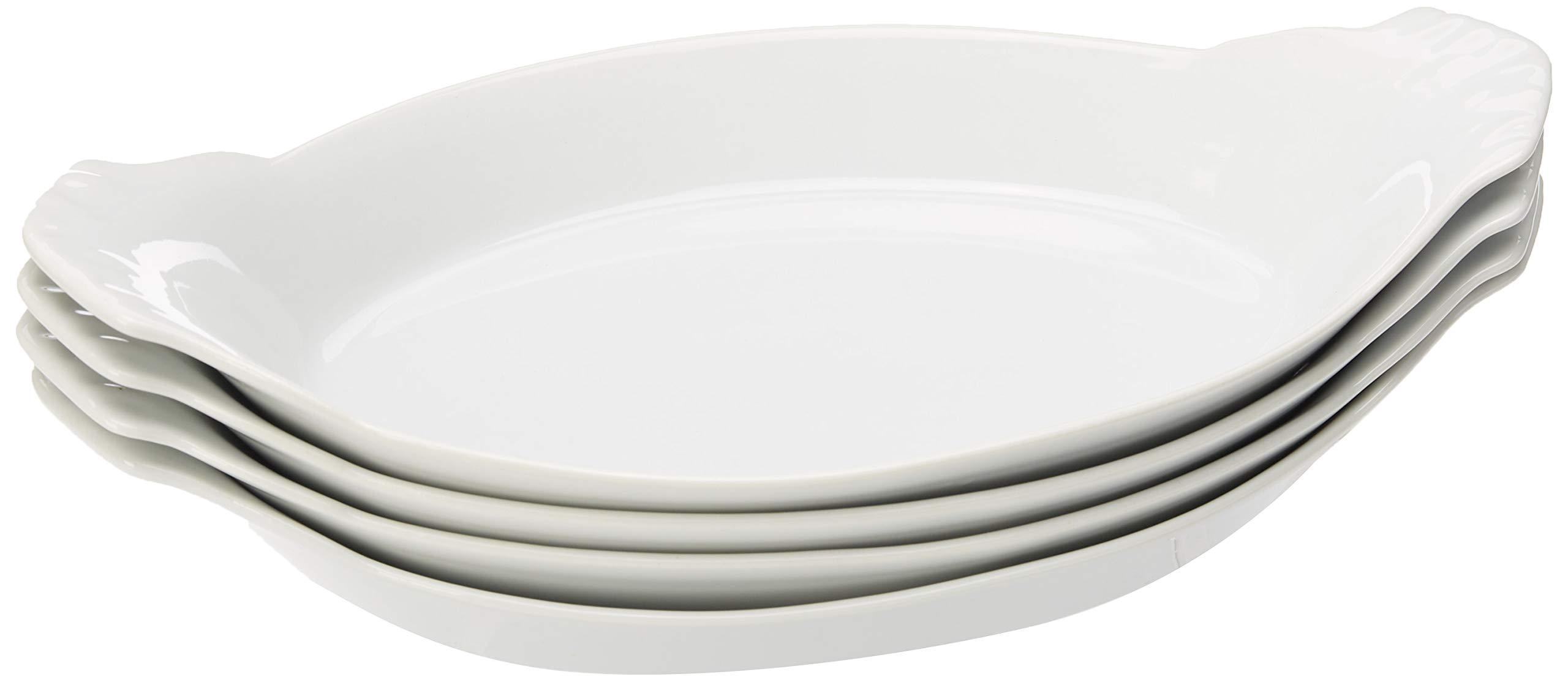 HIC Oval Au Gratin Baking Dishes, Fine White Porcelain, 10-Inch, Set of 4