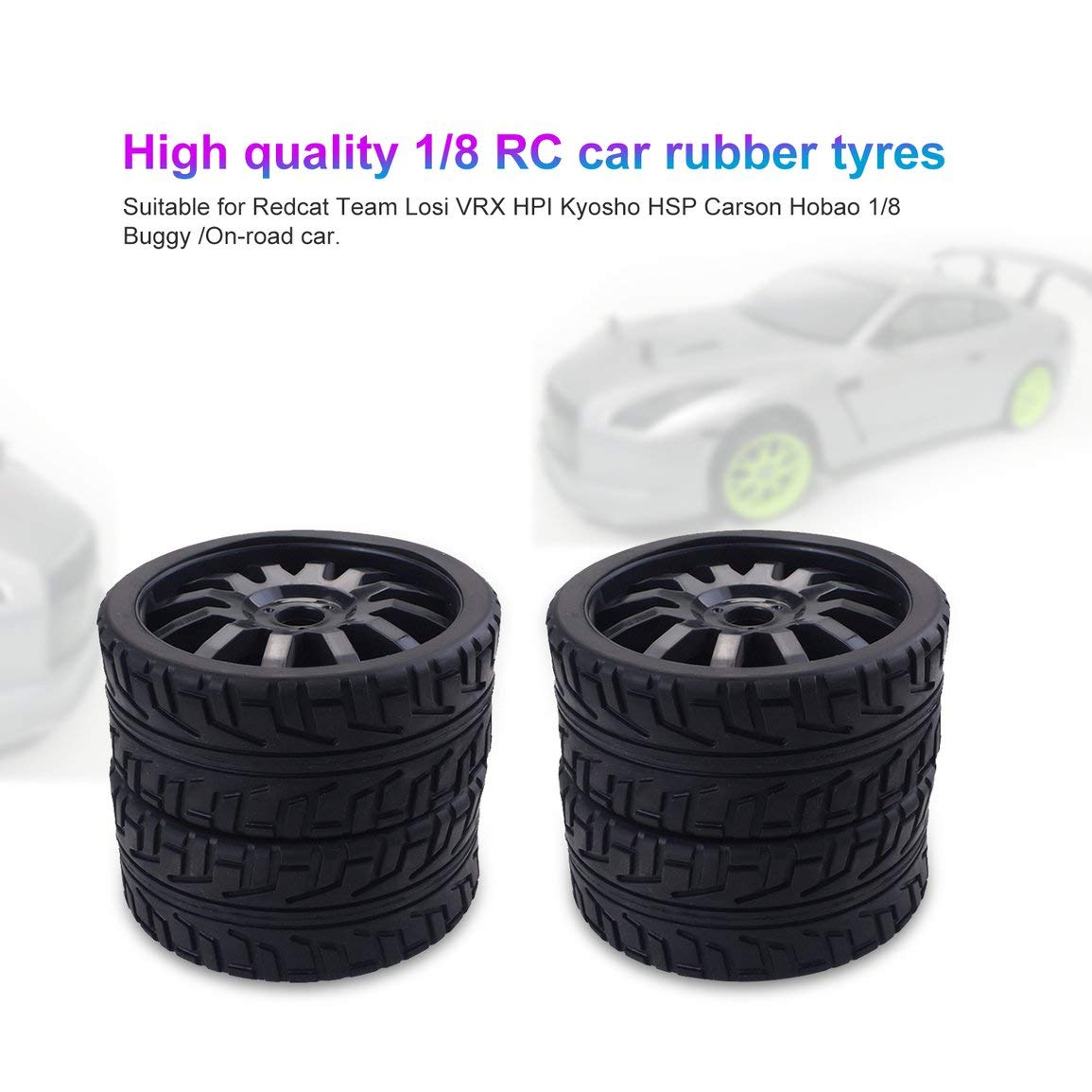 Auto su Strada Colore: Nero Garciayia 4PCS 1//8 RC Ruote in Gomma per Auto Ruote in plastica per Redcat Team Losi VRX HPI Kyosho HSP Carson Hobao 1//8 Buggy