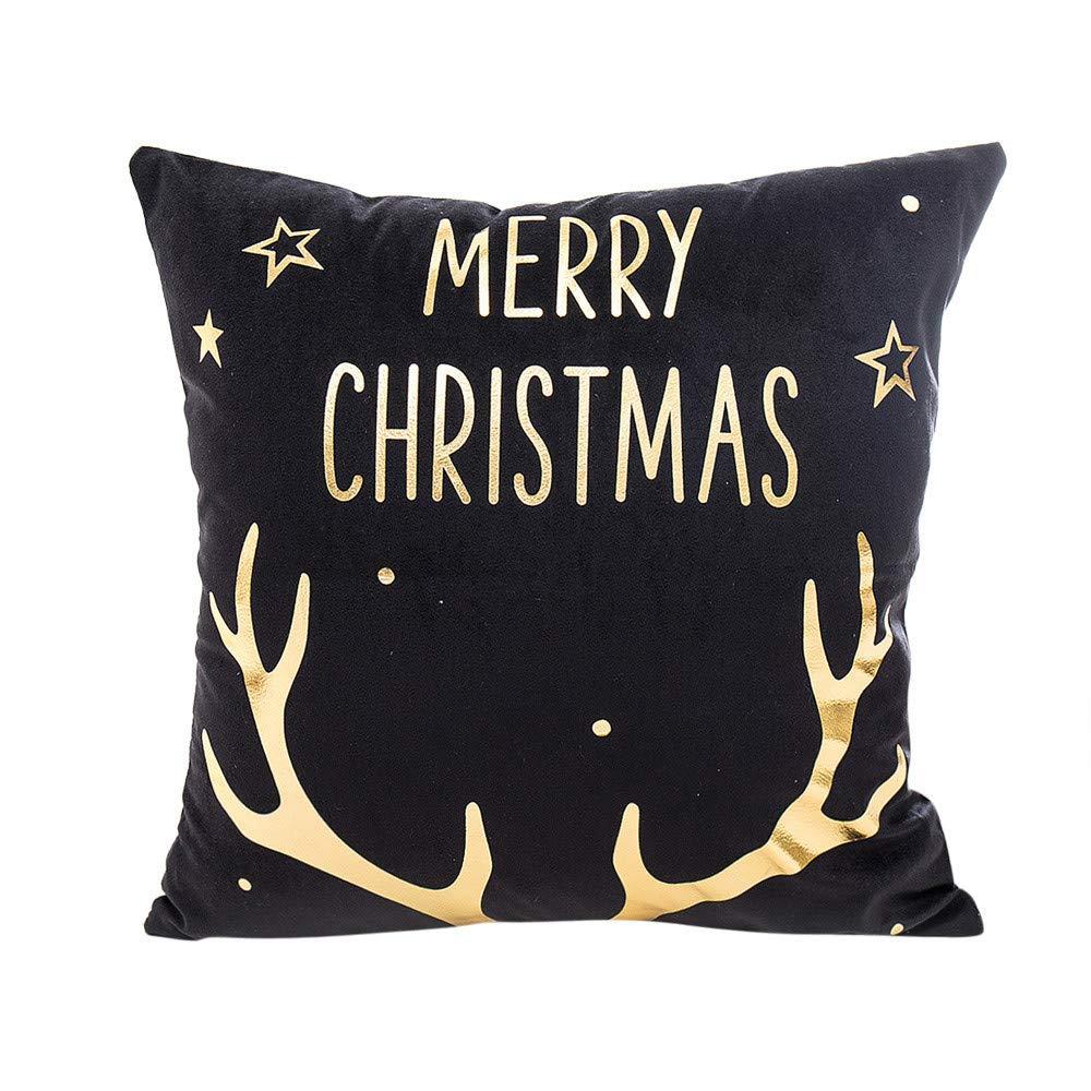 DOGZI Halloween Kissen Bettw/äsche Weihnachten Sofa Dekokissen Kissen Weihnachten Frohe Weihnachten Gold Foil Printing Sofa Taille Wurf Kissenbezug