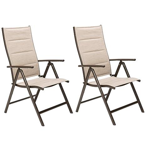 OUMAN Silla de jardín tapizada Sillón plegable Silla de jardín plegable ajustable para terraza, balcón Camping Beige, 2 piezas de gran confort con ...