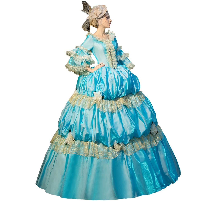 Amazon.com: XNAIHUAFEI Royal Dress 18th Century Blue Costume Marie ...