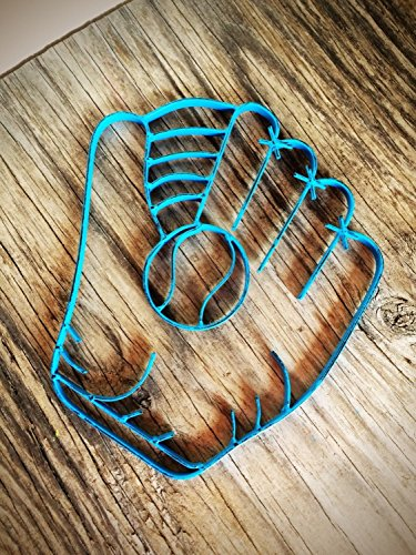 (Bright Blue Rustic Metal Baseball Glove Wall Art Hanging - Boy's Sports Fan Themed Bedroom Nursery - Playroom Decor)