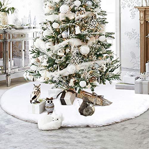 Christmas Tree Skirt 48 Inch Luxury Snowy White Faux Fur Tree Skirt