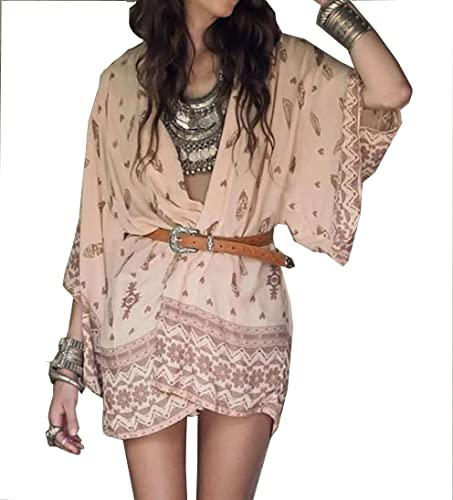 Coversolate Mujer Boho Impreso Gasa Suelto Chal Kimono Cárdigan Tops Cubrir Blusa