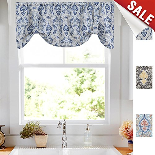 Tie Up Valances for Kitchen Windows Retro Linen Blend Damask Printed Tie-up Valance Curtains Rod Pocket Adjustable Rustic Medallion Tie-up Shade for Small Windows 20 Inches Long (1 Panel, - Adjustable Window Valance