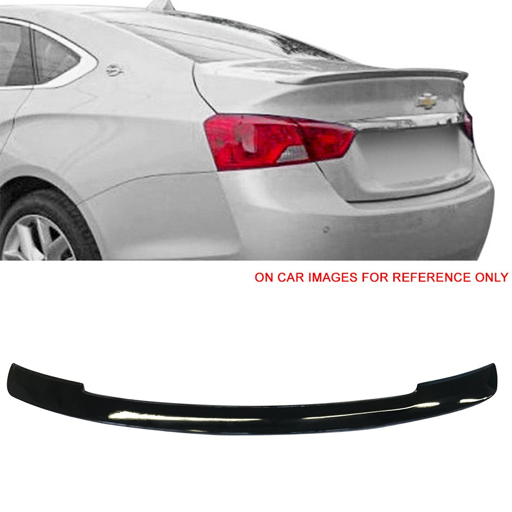 Pre-Painted Trunk Spoiler Fits 2014-2017 Chevy Impala | OE Style Painted #WA8555 Black ABS Trunk Boot Lip Spoiler Wing Add On Deck Lid Other Color Available By IKON MOTORSPORTS | 2015 2016