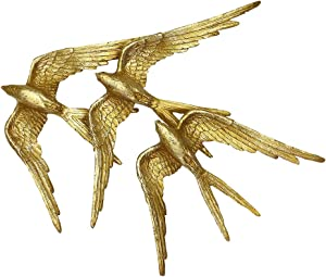 OTARTU 16''W Gold Swallows Birds Wall Mounted Sculpture, Sparrows Wall Art Décor,Indoor and Outdoor.