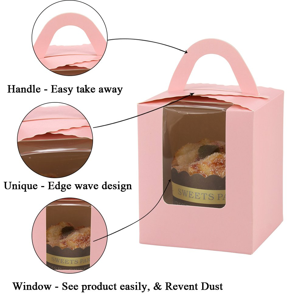 Barwa Single Cupcake Boxes with Inserts Window Handle Individual Baking Bakery Cake Boxes Container for Cupcake Muffins for Wedding Birthday Baby Shower Party Crafting Easy To Assemble 30 Counts by Barwa (Image #4)