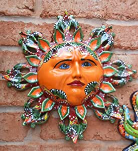 Amazon.com : Talavera Sun Burst Face Wall Decor Garden ... on Backyard Decorations Amazon id=23440