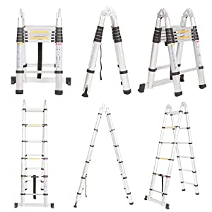 Finether 12.5 FT Aluminum Telescopic Extension Ladder, Portable Heavy Duty Multi-Purpose Aluminum Folding Telescoping Ladder,330 Pound Capacity