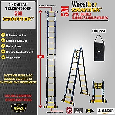 Escabeau échelle Télescopique Woerther Triple Fonctions 5m 2m50 Avec Housse Modèle Grafitek En Graphite Et Aluminium 7175t6 Avec Doubles Barres