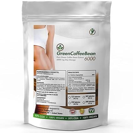 GREEN COFFEE BEAN - 6000 | 250 Tabletten (vegan) a 2000 mg | Großpackung zum fairen Preis | Grüner Kaffee Bohnen Extrakt - Na