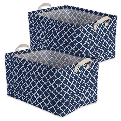 DII Cotton/Polyester Cube Laundry Basket, Perfect In Your Bedroom, Nursery, Dorm, Closet, 12.5 x 18 x 10.5, XL Set of 2 - Nautical Blue Lattice