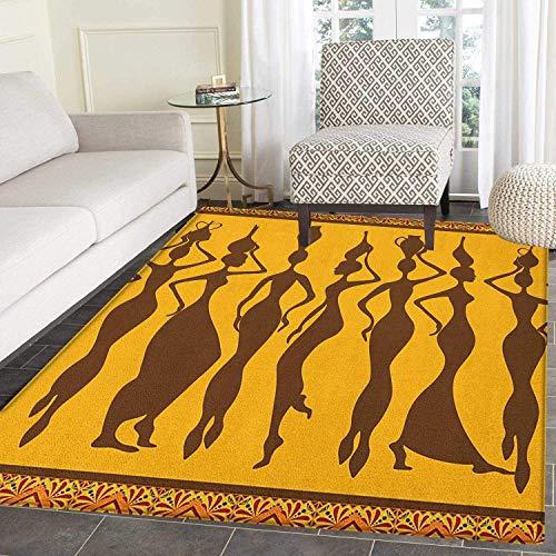 African Area Rug Carpet Silhouette of Sexy Female Bodies Exotic Design Savannah Women Artwork Print Customize Door mats for Home Mat 2'x3' Brown Marigold ()