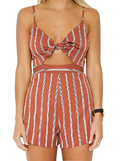 568a0775a390 Image Unavailable. Image not available for. Color  RUIGO Womens Floral Spaghetti  Strap Tie Front Bowknot Backless Summer Beach Romper Jumpsuit Overalls