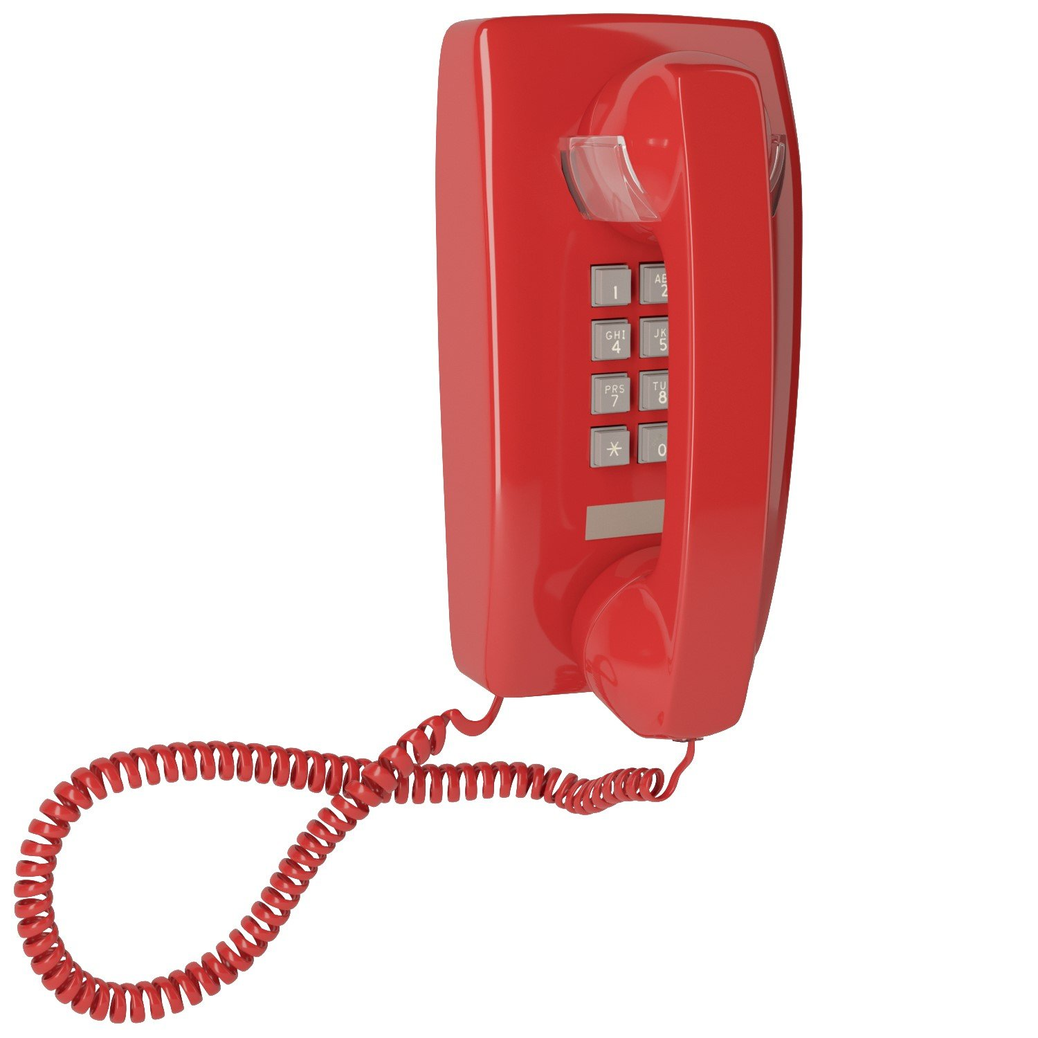 Home Intuition Single Line Wall Mounted Corded Telephone with Extra Loud Ringer, Red
