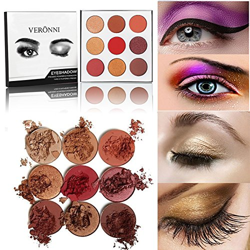 Veronni 9 Colors Highly Pigmented Pro Pressed Shimmer Matte