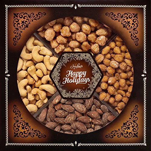 Jaybee's Happy Holiday Nuts Gift Tray - Perfect for Holiday, Birthday, Corporate - Contains Extra Large Cashews, Smoked Almonds, Toffee & Honey Roasted Peanuts, Vegetarian Friendly and Kosher (Corporate Gift Business)