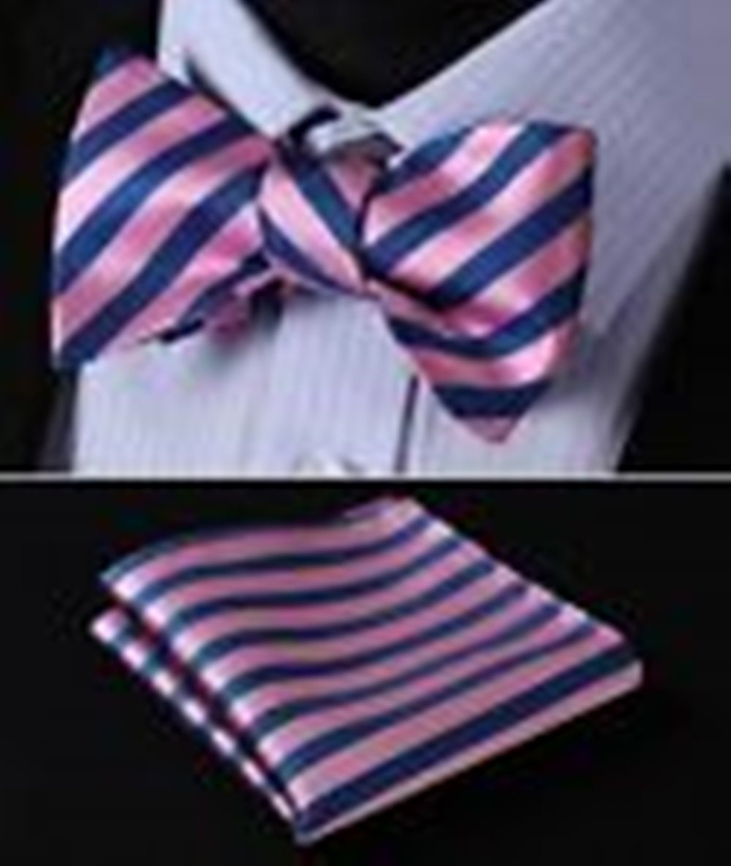 Mondaily DL3002H Pink Blue Stripe Men Woven Silk Self Bow Tie Pocket Square Set #PPTE4749